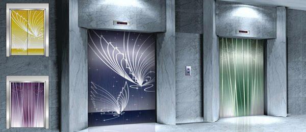 درب شیشه ای طرحدار و رنگی آسانسور